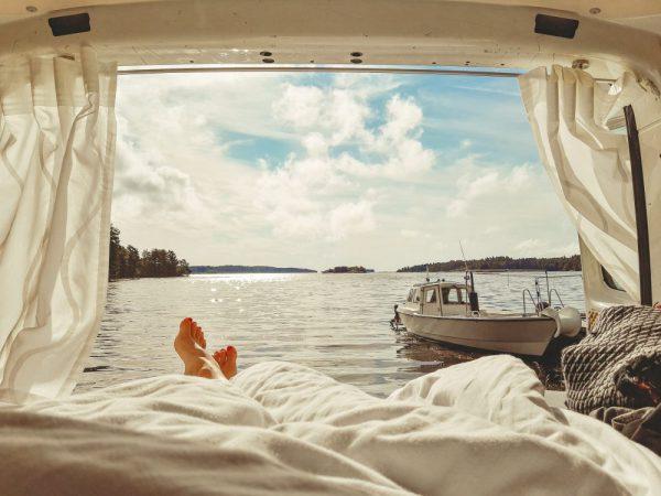 Ausblick aus Campervan in Schweden