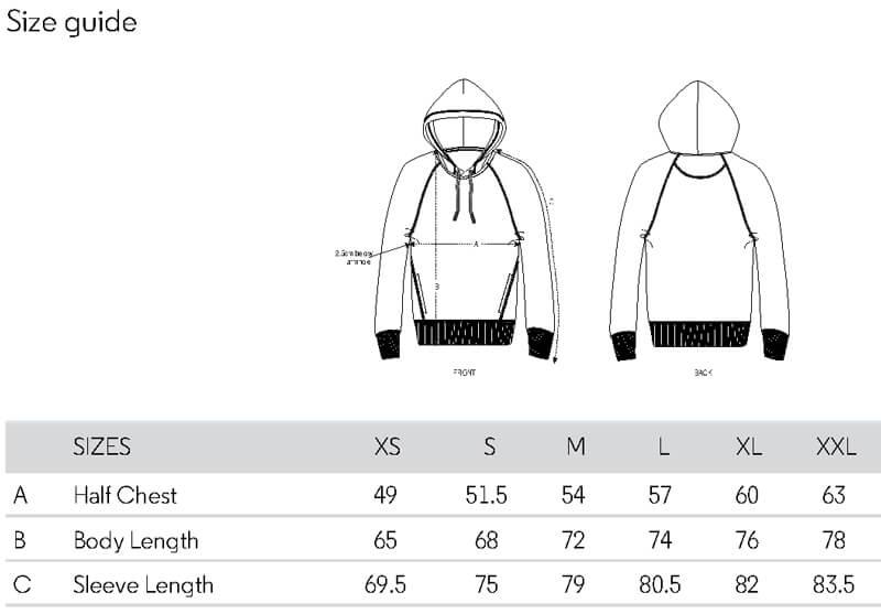 Size Guide für Van Life Hoodie