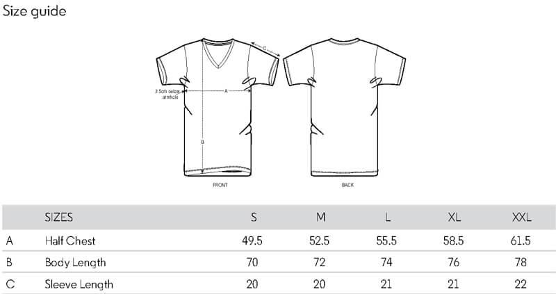 Sizeguide Herren T-Shirt