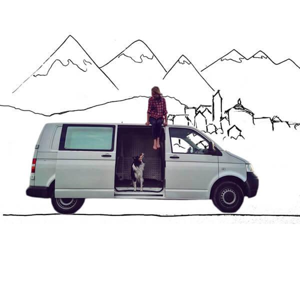 Illustration von VW Bulli mit Hund und Frau